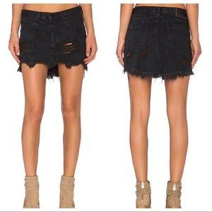 One Teaspoon Black Junkyard Destroyed Denim Skirt